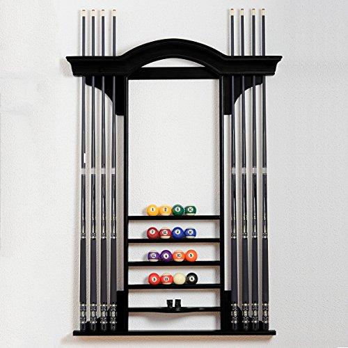 """Billiard-Royal Billard Queue Wandhalterung """"301B"""" für bis zu 8 Billardqueues in Schwarz passend zu unserem Billardtischmodell: Piano"""