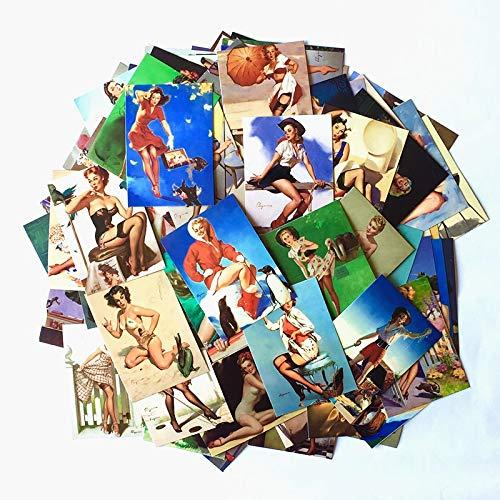 Calcomanía retro de la belleza de la muchacha de PVC para portátil nevera y maleta, decoración mixta de calcomanías 100 piezas