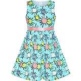 Sunny Fashion Robe Fille Fleur Bleu Coton Décontractée Été Robe d'été 9-10 Ans