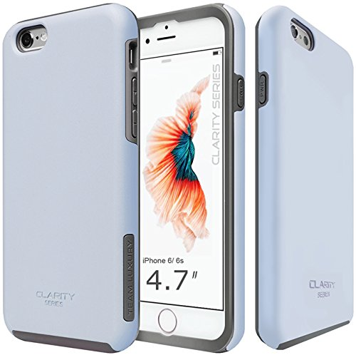 TEAM LUXURY [Clarity Series Case for iPhone 6 & 6s, Ultra Defender Shock Absorbent Slim-fit Premium Protective Phone Case (Light Blue)