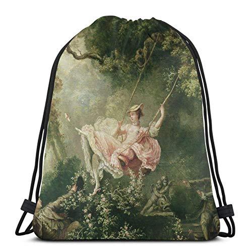 WH-CLA Cinch Bags Jean-Honore Fragonard - Die Schaukel Sport Sporttasche Aus Dem 18. Jahrhundert Casual Gym Cinch Pack Leichte Damen Anime Travel Shopping Gedruckt Langlebiger Print Gym S