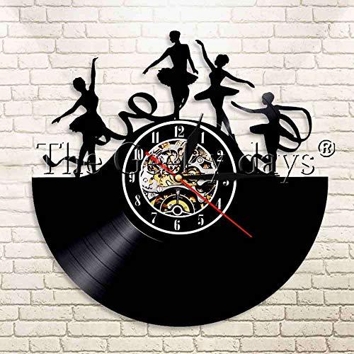 jiushixw 3D Ist Lovin'It lettertype record wandklok retro hip hop DJ platenspeler moderne wandklok decoratie