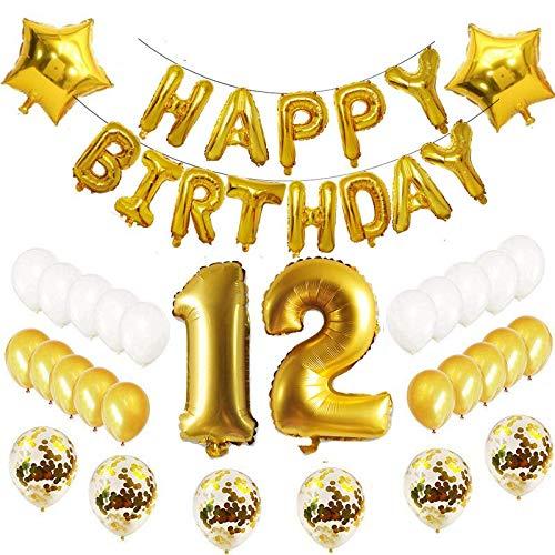 Oumezon 12.Geburtstag Dekoration Luftballons Gold Set,12 Geburtstagsdeko Gold Set mädchen Herren Damen Junge, 12 Geburtstag Dekoration,Happy Birthday Ballon Deko 12 Deko Folienballons