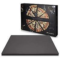 navaris pietra refrattaria per cottura pizza - per cuocere nel forno casa pane pizza - teglia rettangolare 38x30cm 800° cordierite e ceramica - nero