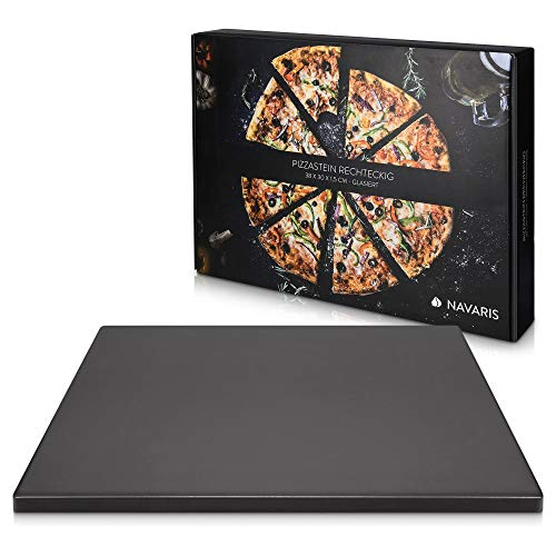 Navaris XL Pizza Stone for Baking - Glazed Square Cordierite Stone Plate for BBQ Grill Oven - Cook, Serve Pizza Bread Cheese - 15' x 11.8' x 0.6'