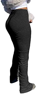 KOKAY Womens Stacked Leggings Pants, Ladies Casual High Waist Sweatpants Solid Color Split Hem Flare Pants, Workout Active Pants