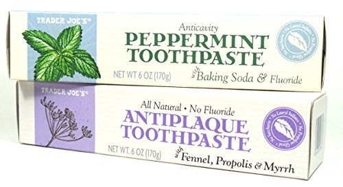 Trader Joe's ALL NATURAL ANTICAVITY PEPPERMINT toothpaste with BAKING SODA, and FLUORIDE and ALL NATURAL NO FLUORIDE ANTIPLAQUE toothpaste with FENNEL, PROPOLIS, MYRRH, 6oz (2 PACK)