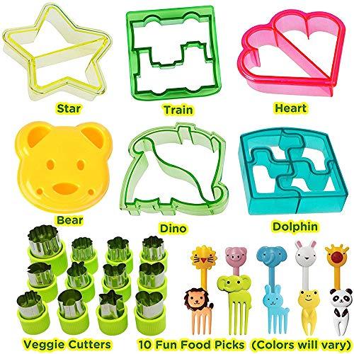 KAISHANE Kinder-Ausstecher-Set aus 24 Kunststoff-Brotschneidern-6 Stück Tierformen 8 Stück Edelstahl-Gemüseformen mit 10 Stück Obst-Pfund-Mittagessen für Kinderfutter