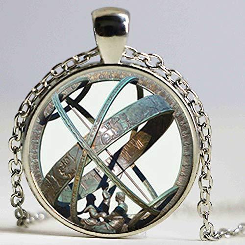 DADATU Halsketten für Herren Astronomische Sonnenuhr Anhänger Astronomie Halskette Aqua Bronze Astrologische Vintage Astronomie Wissenschaft Schmuck