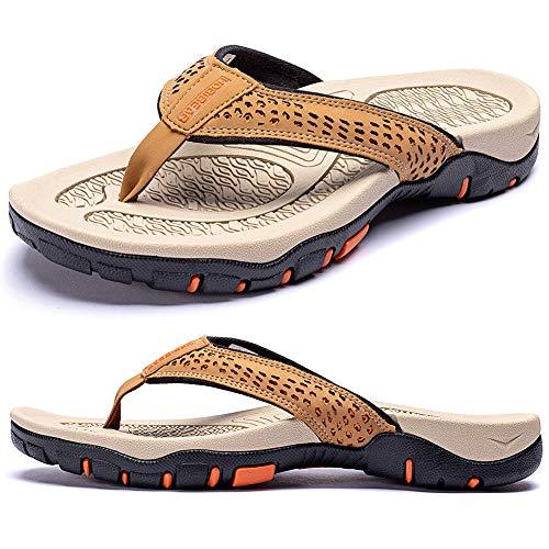 KIIU Mens Flip Flop Indoor and Outdoor Thong Sandals Beach Slippers Khaki 11
