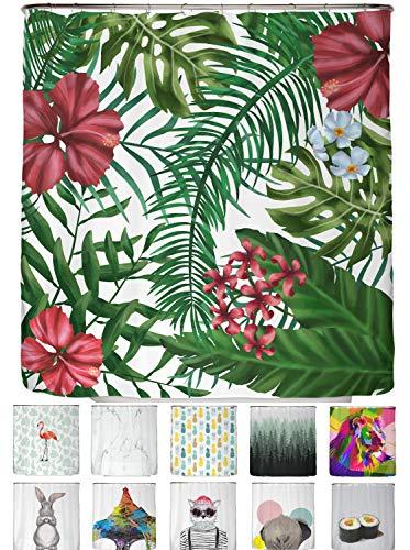 arteneur® - Dschungel Blumen - Anti-Schimmel Duschvorhang 180x200 mit Öko-Tex Standard 100 - Beschwerter Saum, Blickdicht, Wasserdicht, Waschbar, 12 Ringe und E-Book