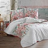 Ropa de cama de algodón, 200 x 220 cm, color blanco/rojo, 100% algodón/Renforcé con cremallera, transpirable, 3 piezas, funda nórdica con 2 fundas de almohada de 80 x 80 cm. Zalina V1