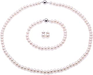 JYX White Freshwater Cultured Pearl Necklace Bracelet Earrings Jewelry Set