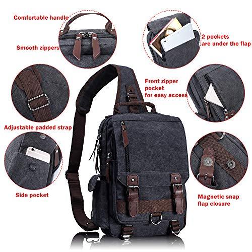 Leaper Canvas One Strap Sling Cross Body Messenger Bag Shoulder Backpack Travel Rucksack (Large,Coffee)