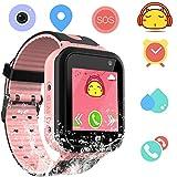 Smartwatch Impermeable para Niños Niñas - Reloj Teléfono con Localizador LBS Chat de Voz SOS Cámara Linterna Despertador Juegos Regalo Relojes Estudiante Smart Watch Compatibles con iOS Android,Rosa
