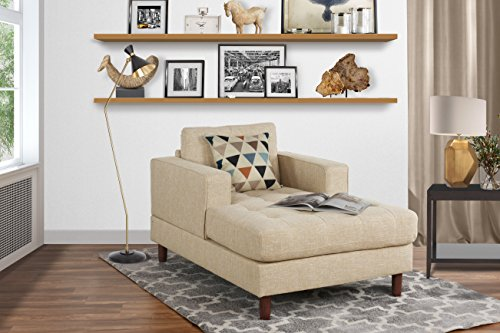 Divano Roma Middle Century Modern Linen Fabric Living Room Chaise Lounge (Beige)