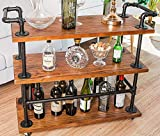 DOFURNILIM Best Bar Carts/Serving Carts/Kitchen Carts/Wine Rack Carts on Wheels with Storage -...