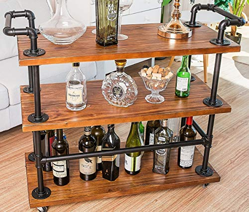 Industrial Bar Carts/Serving Carts/Kitchen Carts/Wine Rack Carts on Wheels with Storage - Industrial Rolling Carts - Wine Tea Liquor Shelves/Holder - Solid Wood and Metal Home Furniture (Bar Cart 002)