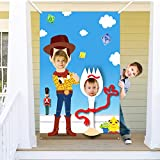 Ticiaga Toy 4th Photo Door Banner, Large Fabric Fork Face Photography Banner Background, Pretend Play Party Game Photo Props Backdrop Props, Toy Inspired Story Theme Party Favor Supplies