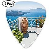 Púas de guitarra, paquete de 12, isla de Santorini, Grecia, Mar Egeo, árboles, flores, cielo despejado, impresión de fotos