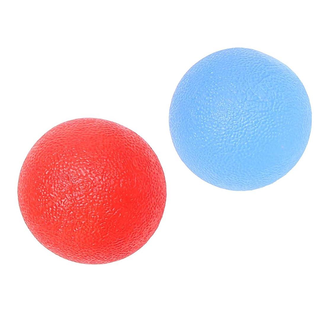 浮く扇動する書誌FLAMEER 2個 ハンドエクササイズボール ハンドグリップ シリコン 指トレーニング ストレス緩和 柔軟 赤/青