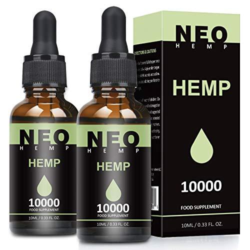 2 Pack Höchste Qualität Hanföl mit natürlichen Zutaten, Hanfsamenöl reich an Omega 3+6 Fettsäuren, Vitaminen und Mineralie