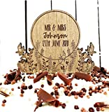 Personalised Wedding | Anniversary | engagement wooden cake topper - Personalise with names - Mr and Mrs Cake decoration – rustic wood toppers