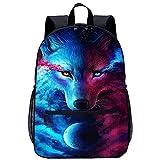 xiaoliqi Sac D'École Imprimé En 3D Wolf Backpack Cool Bookbag High Middle School Boys Girls Casual Backpack Voyage, Sports, Randonnée, École