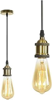 MIFIRE Vintage Mini Luz Lámpara del Techo pendiente E27 Edison Casquillo Portalámparas Lámpara colgante con cable ajustable 1.5 m para retro Accesorios de La Lámpara DIY (Bronce)