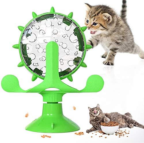 YISKY Gioco Rotante per Gatto, Stuzzicare Giocattolo per Animali, Giocattolo per Gatti Mulino a Vento, Utilizzato per Giocattoli Interattivi Gioco Rotante per Gatto in Ambienti Interni (Verde)