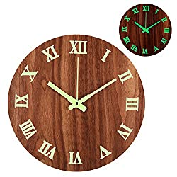 12 Night Light Function Round Wall Clock Vintage Rustic Country Style for Kitchen Bedroom Office Home Silent & Non-Ticking Large Numbers Battery Operated Clocks (N02)