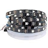 Tesfish WS2812B Tira de luz LED RGB Pixel Tiras LED 5m 5V 5050 150 LEDs IP30 Flexible Negro PCB a todo color Tira de luz LED inteligente para publicidad, decoración, proyectos DIY