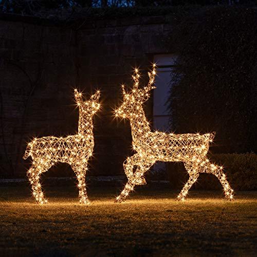 Lights4fun - Set di 2 Renne Luminose di Rattan con...