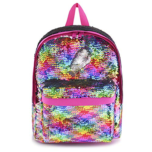 Mini Sequin Backpack for Little Girls Kids Women Fashion Small Daypacks Purse for ladies Magic Mermaid Sparkly Back Pack(Rainbow)