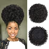 AISI QUEENS Afro Puff Drawstring Ponytail Black Kinky Curly Hair Bun Synthetic Hairpieces Clip in Hair Extensions for Black Women(Extra Large,1B#)