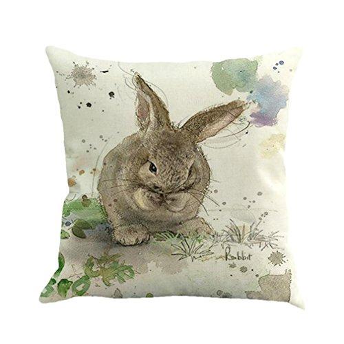 Quistal Rabbit Print Throw Pillow Case Cotton Linen Sofa Couch Chair Waist Cushion Cover Sofa Bed Home Decoration 18 X 18 Inches (D)
