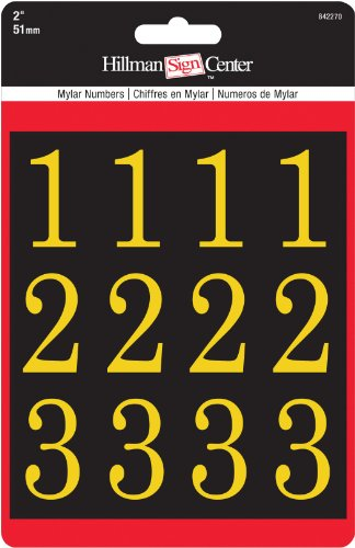 """Hillman 842270 2"""" Peel-Off Black & Gold Poly-Film Numbers Pack"""