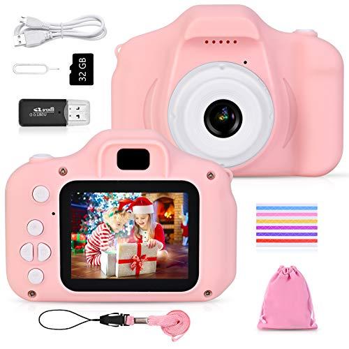 Faburo - Cámara de fotos infantil mini digital para niños, 12 Mpx, 32 G TF tarjeta, 510 esquinas de fotos para niños (rosa)
