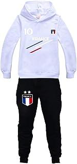 Jersey para niño de fútbol de Francia, 2 estrellas, sudaderas con capucha, chándal para niño