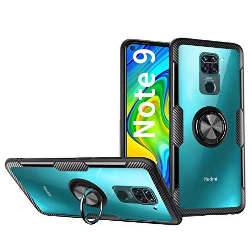 KONEE Custodia Compatibile con Xiaomi Redmi Note 9 / Redmi 10X 4G, 【Duro Trasparente PC】 【360° Supporto ad Anello】 Antiurto Resistente Ai Graffi Ultra Hybrid Cover per Redmi Note 9 / Redmi 10X 4G