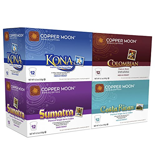 Copper Moon Coffee Single Serve Pods for Keurig 2.0 K Cup Brewers, Around The World for Coffee Lovers Variety Pack (12 Kona Blend, 12 Sumatra Blend, 12 Costa Rican Blend, 12 Colombian Blend) 48Count