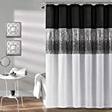 Lush Decor, Black and White Night Sky Shower Curtain | Sequin Fabric Shimmery Color Block Design for Bathroom, 72' x 72'