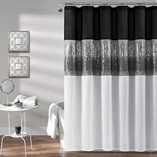 """Lush Decor, Black and White Night Sky Shower Curtain 