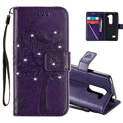 COTDINFOR LG Leon H340N C40 Hülle für Mädchen Elegant Retro Premium PU Lederhülle Handy Tasche Magnet Standfunktion Schutz Etui für LG Leon 4G LTE H340N C40 C50 Purple Wishing Tree with Diamond KT.
