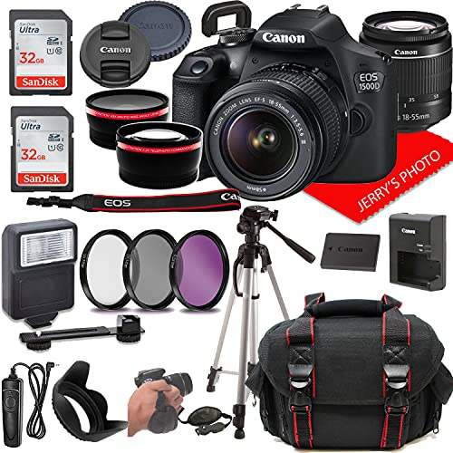 Canon EOS 1500D (Rebel T7) DSLR Camera w/Canon EF-S 18-55mm F/3.5-5.6 III Lens + Filters (UV, CPL, FLD) + Padded Case + 64GB Memory (28pc Bundle)