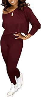 Two Piece Outfits for Women Sexy - 2 Piece Matching Sets Long Sleeve Off Shoulder Crop Top + Skinny Pants Clothing