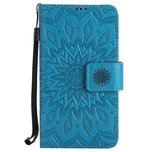 LAFCH Handyhülle für Microsoft Lumia 630 Hülle, Premium Mandala Geprägtes Muster PU Leder Flip Schutzhülle für Microsoft Lumia 630, mit Karteneinschub, Blau