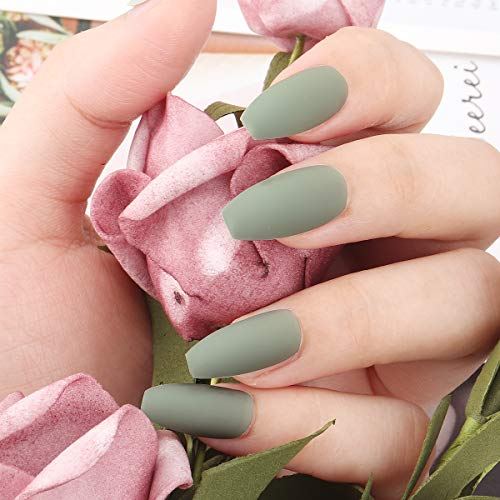 Coffin Matte False Nails, 24Pcs Pure Color Matte Coffin Nail Tips Ballerina False Gel Nails Art Set Full Cover Fake Nails, Acrylic Press on Nails with Nail Adhesive Tabs and Nail File (Matcha green)