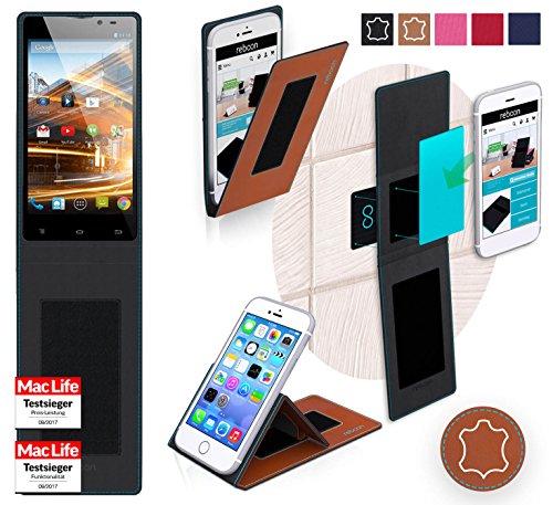 Hülle für Archos 50 Neon Tasche Cover Hülle Bumper | Braun Leder | Testsieger