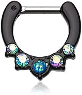 WildKlass Jewelry Black Septum Clicker Opal Aurora Borealis 16g 1/4